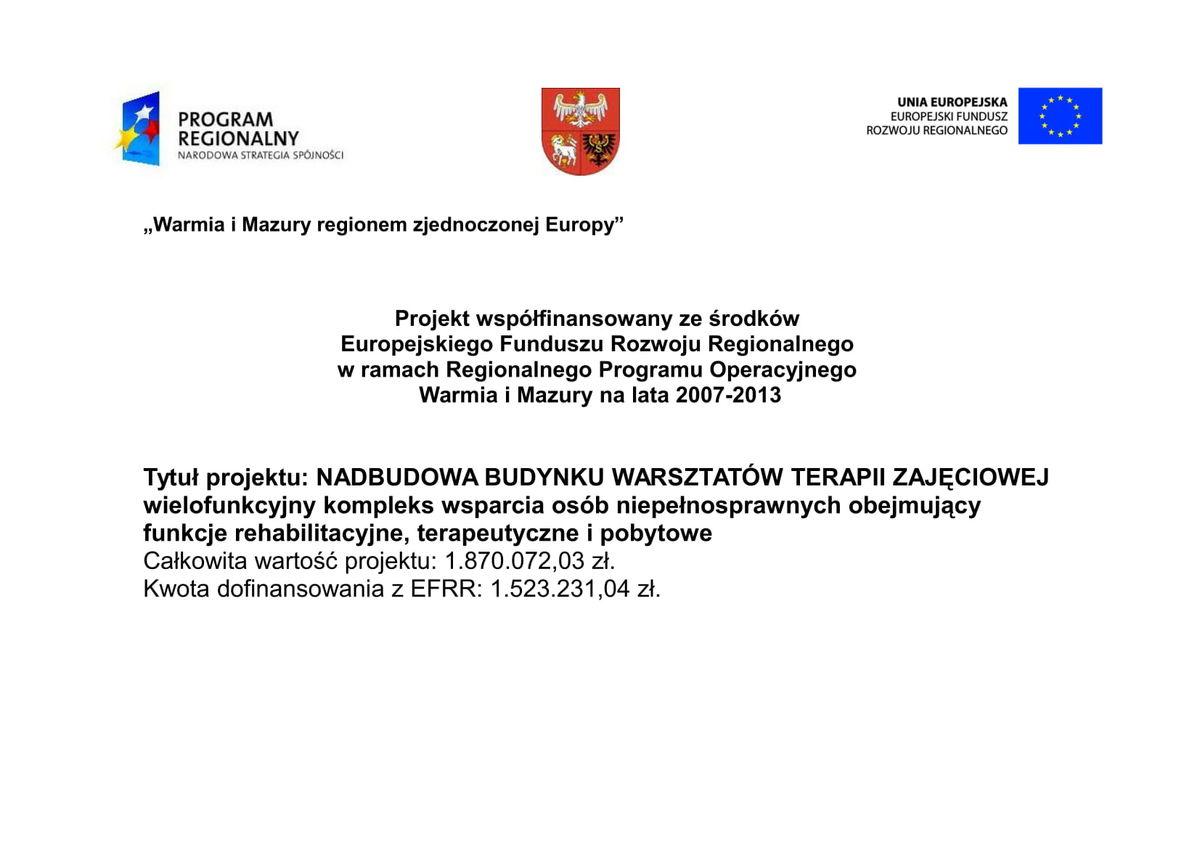 Informacja o projekcie WTZ